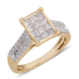 New York Close Out Deal - 9K Yellow Gold Diamond (Colour G-H Clarity I1) Ring 1.050 Ct.