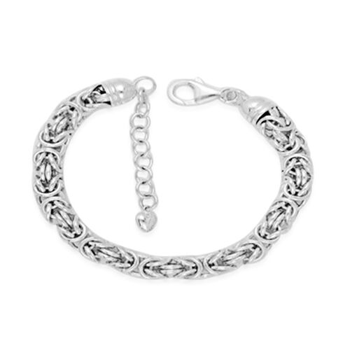 Rhodium Plated Sterling Silver Byzantine Bracelet (Size 8 with 1.5 inch Extender), Silver wt. 20.00 Gms.