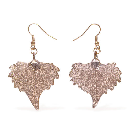 Real Cottonwood Leaf Hook Earrings Dipped in Rose Gold