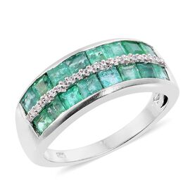 Limited Ediition- Kagem Zambian Emerald (Princess Cut), Natural White Cambodian Zircon Half Eternity Band Ring in Platinum Overlay Sterling Silver 2.500 Ct.
