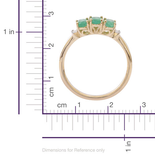 9K Yellow Gold AA Kagem Zambian Emerald (Ovl), Diamond (I3/G-H) Ring 1.250 Ct.