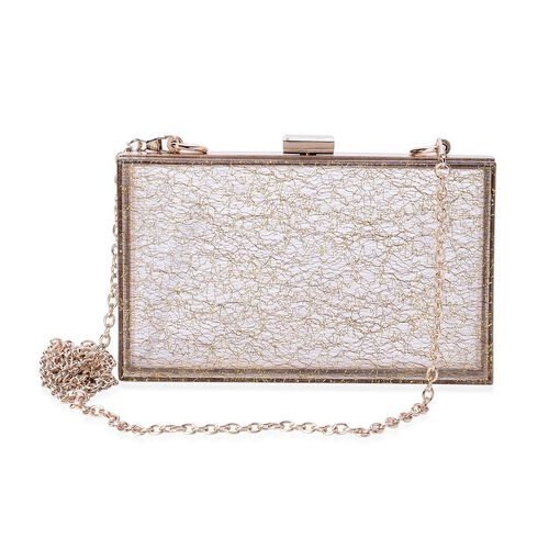 Lace Pattern Golden Colour Clutch Bag with Removable Chain Strap (Size 18x10x5 Cm)