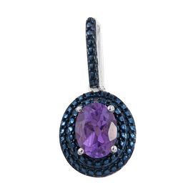 Amethyst (Ovl), Blue Diamond Pendant in Platinum Overlay Sterling Silver 1.250 Ct.