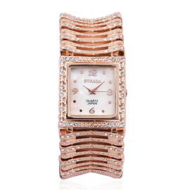 STRADA Japanese Movement White Austrian Crystal Studded Simulated MOP Dial Water Resistant Bracelet Watch in Rose Gold Tone with Stainless Steel Back