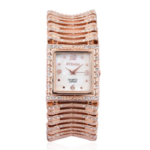 STRADA Japanese Movement White Austrian Crystal Studded Simulated MOP Dial Bracelet Watch in Rose Gold Tone