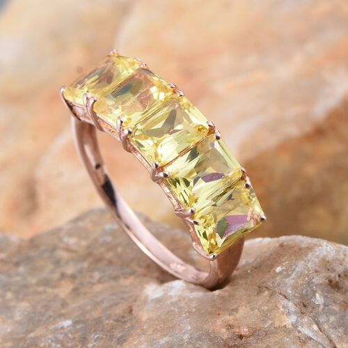 Simulated Canary Diamond (Oct) 5 Stone Ring in Rose Gold Overlay Sterling Sterling Silver