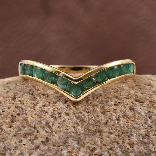 Brazilian Emerald (Rnd) Wishbone Ring in 14K Gold Overlay Sterling Silver 1.000 Ct.