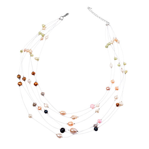 Fresh Water Multi Colour Pearl Necklace (Size 18) in Silver Tone