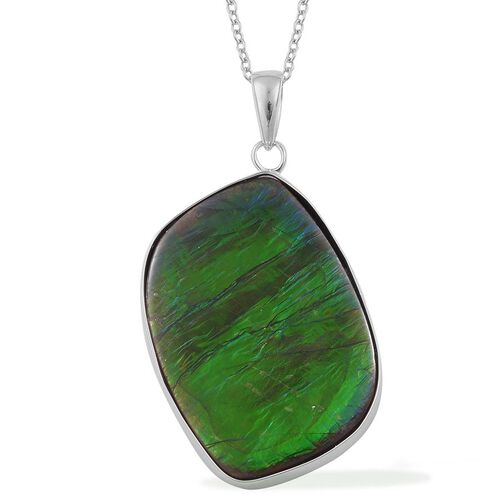 Canadian Ammolite Pendant With Chain in Rhodium Plated Sterling Silver 20.280 Ct.