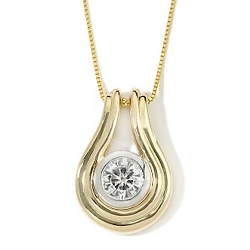 White Topaz (Rnd) Pendant With Chain in 14K Gold Overlay Sterling Silver 1.750 Ct.