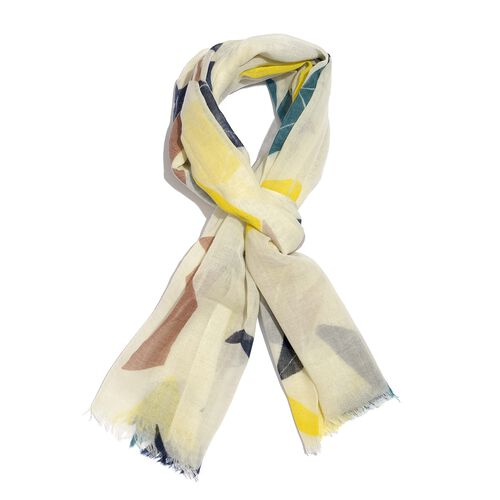 100% Merino Wool Yellow, Off White and Multi Colour Abstract Printed Scarf (Size 175X70 Cm)