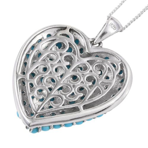 Designer Inspired-Arizona Sleeping Beauty Turquoise (Rnd) Heart Pendant with Chain in Platinum Overlay Sterling Silver 3.500 Ct.