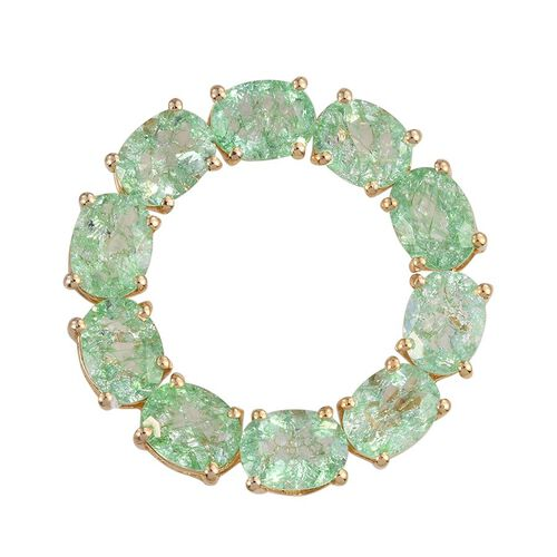 Emerald Green Crackled Quartz (Ovl) Circle of Life Pendant in 14K Gold Overlay Sterling Silver 11.250 Ct.