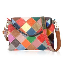 100% Genuine Leather Multi Colour Patchwork Crossbody Bag with External Zipper Pocket and Removable Shoulder Strap (Size 29x22 Cm)