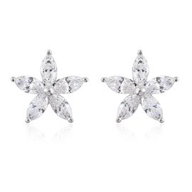 J Francis - 9K White Gold Floral Stud Earrings(with Push Back) Made with SWAROVSKI ZIRCONIA