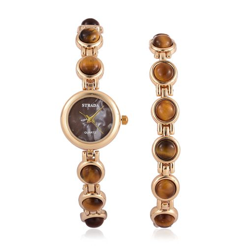 STRADA Japanese Movement Tigers Eye Studded Water Resistant Watch (Size 8.25) and Bracelet (Size 7.5 ) in Yellow Gold Tone 57.200 Ct.