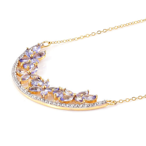 Designer Inspired-Tanzanite (Rnd), Natural White Cambodian Zircon Floral Necklace (Size 18) in Yellow Gold Overlay Sterling Silver 4.250 Ct.