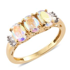 Mercury Mystic Topaz (Ovl), Diamond Ring in 14K Gold Overlay Sterling Silver 1.500 Ct.