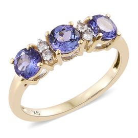 9K Yellow Gold 1.10 Carat AA Tanzanite Ring with Natural Cambodian Zircon