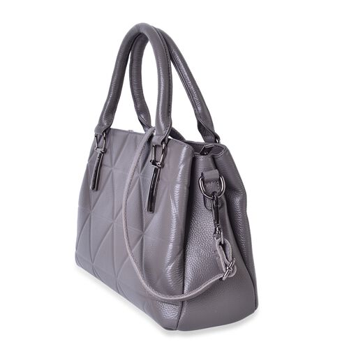 Premier Collection Genuine Leather  Grey Tote Bag with External Zipper Pocket and Adjustable and Removable Shoulder Strap (Size 29X22X12 Cm)