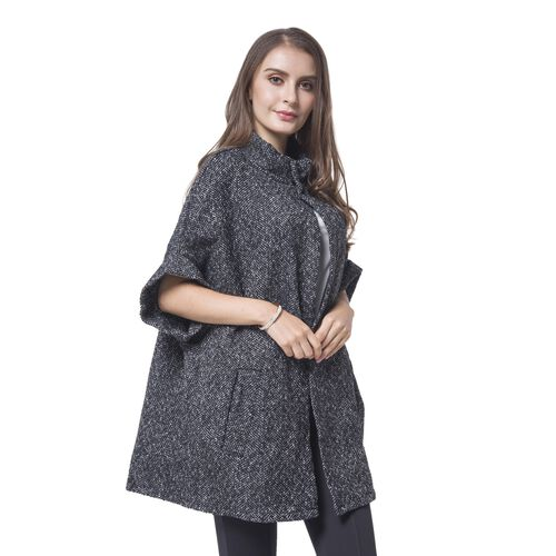 Black, White and Grey Colour Knitted Cape (Free Size)
