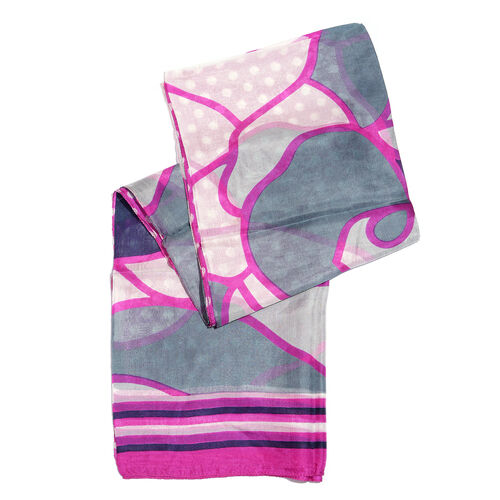 100% Mulberry Silk Fuchsia, Grey and Multi Colour Polka Dots Hand Screen Printed Scarf (Size 180X100 Cm)