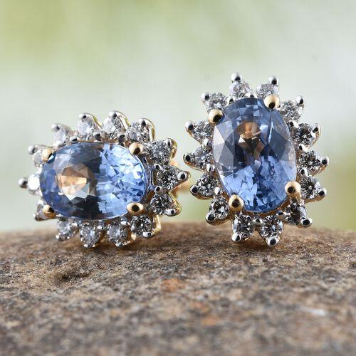 ILIANA 18K Yellow Gold AAA Ceylon Blue Sapphire (Ovl), Diamond (SI/G-H) Stud Earrings (with Screw Back) 1.250 Ct.