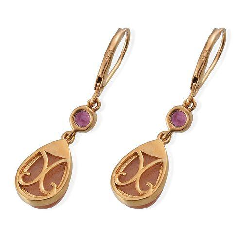 Morogoro Peach Sunstone (Pear), Rhodolite Garnet Lever Back Earrings in 14K Gold Overlay Sterling Silver 7.250 Ct.