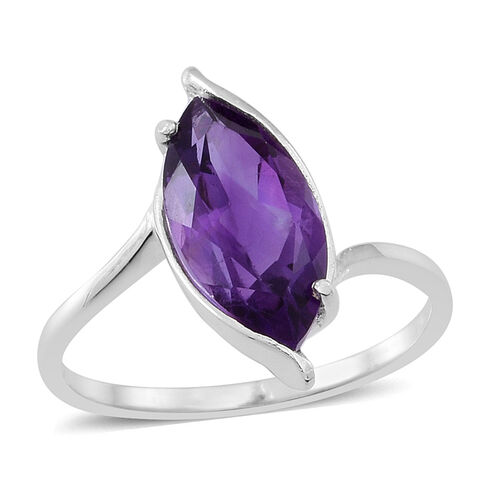 Amethyst (Mrq) Solitaire Ring in Sterling Silver 2.000 Ct.