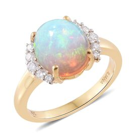 ILIANA 18K Yellow Gold 2.50 Ct AAAA Ethiopian Welo Opal Ring with Diamond SI G-H