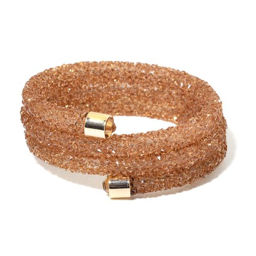 Designer Inspired AAA Natural Champagne Austrian Crystal Quartz Bangle (Size 7.5) in Yellow Gold Tone