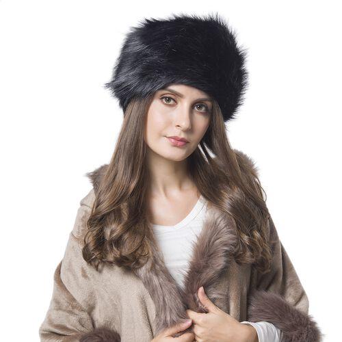 Black Colour Faux Fur Hat (Size 30X18 Cm)