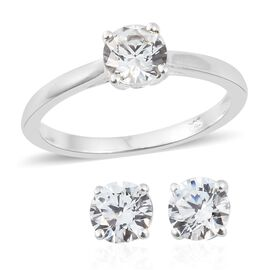 J Francis - Sterling Silver (Rnd 6mm) Solitaire Ring and Stud Earrings (with Push Back) Made with SWAROVSKI ZIRCONIA