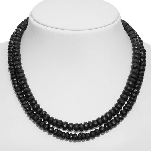 Super Auction-Boi Ploi Black Spinel (Rnd) Beads Necklace (Size 36) with Magnetic Clasp in Rhodium Plated Sterling Silver 700.000 Ct.
