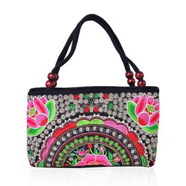 SHANGHAI COLLECTION Black, Fuchsia and Multi Colour Floral Hand Made, Hand Embroidered Tote Bag with Beads in Handle (Size 27X17X9.5 Cm)