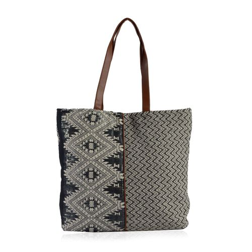 Black, Off White and Multi Colour Jacquard Tote Bag (Size 45x40x10 Cm)