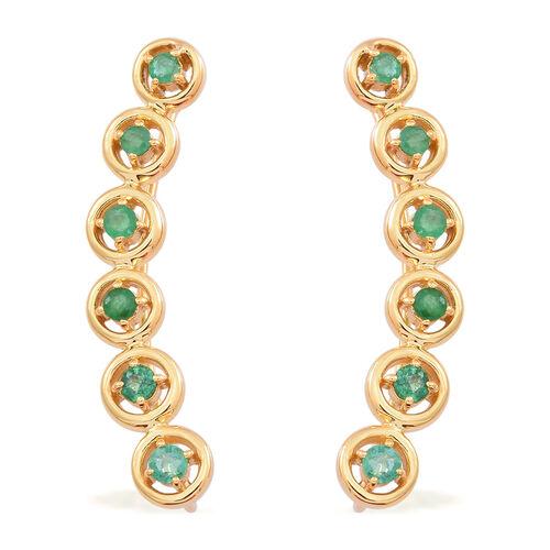Kagem Zambian Emerald (Rnd) Earrings in 14K Gold Overlay Sterling Silver 1.250 Ct.