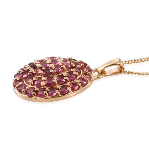 Mahenge Spinel (Rnd) Cluster Pendant With Chain in 14K Gold Overlay Sterling Silver 1.500 Ct.