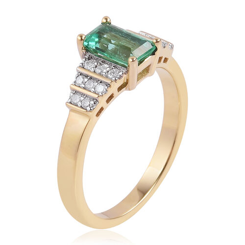 1.20 Ct AAA Boyaca Colombian Emerald and Diamond Ring in 9K Gold