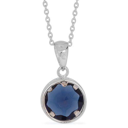 ELANZA AAA Simulated Blue Sapphire (Rnd) Solitaire Pendant With Chain in Rhodium Plated Sterling Silver