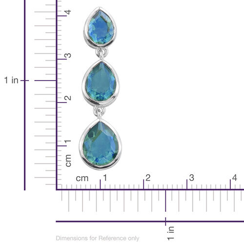 Peacock Quartz (Pear) Earrings (with Push Back) in Platinum Overlay Sterling Silver 11.500 Ct.