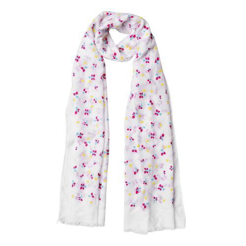 Cherry Pattern White Colour Scarf (Size 180x70 Cm)