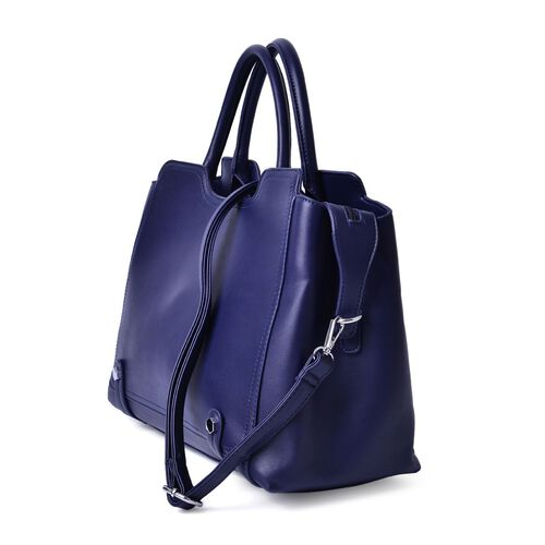 Set of 2 - Navy Colour Large Handbag with Adjustable and Removable Shoulder Strap and Small Handbag (Size 36x25x16Cm, 21x11.5 Cm)