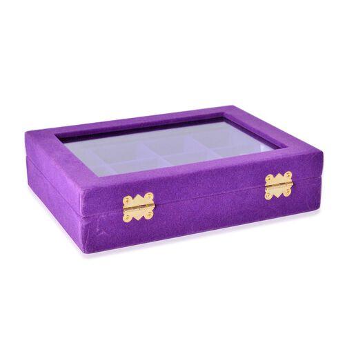 Purple Colour 12 Sections Velvet Jewelry Box with Anti Tarnish Treatment (Size 20X15X4.5 Cm)