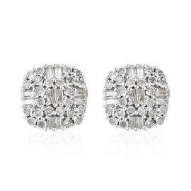 GP Diamond (Rnd and Bgt), Kanchanaburi Blue Sapphire Stud Earrings (with Push Back) in Platinum Overlay Sterling Silver 0.505 Ct.