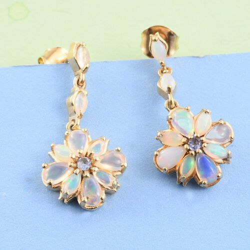 Ethiopian Welo Opal (Pear), Tanzanite Earrings (with Push Back) in 14K Gold Overlay Sterling Silver 2.380 Ct.