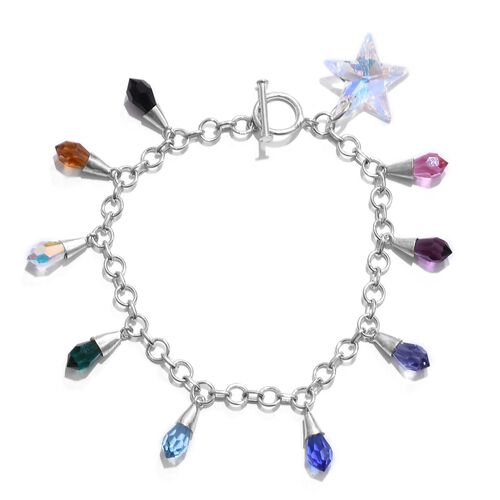 J Francis Crystal From Swarovski - Rainbow Colour Crystal Charm Bracelet (Size 7.5) in Rhodium Plated Sterling Silver