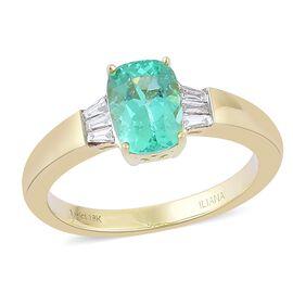 ILIANA 18K Yellow Gold AAA Boyaca Colombian Emerald (Cush 1.65 Ct), IGI Certified Diamond (SI/G-H) 1.800 Ct.