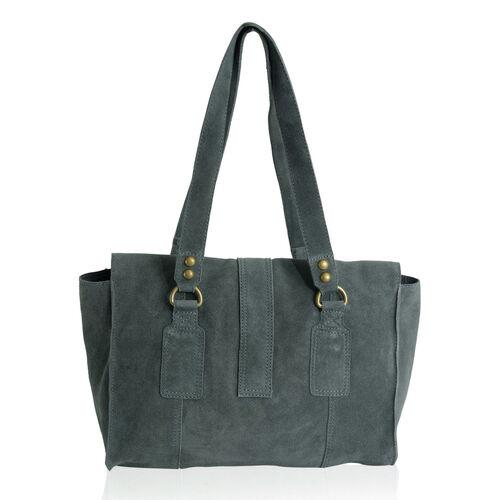 Genuine Leather Navy Colour Handbag with Flap Buckle Closure (Size 33x24 Cm)