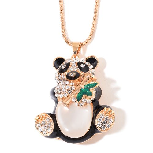 AAA White Austrian Crystal Black and Green Colour Enameled Panda Pendant with Chain (Size 28) in Yellow Gold Plated